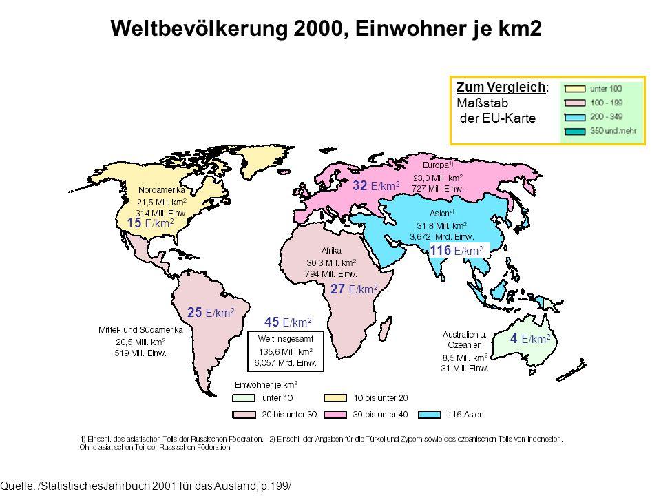 Einwohner je km2 nach Regionen in EU-Europa Quelle: /StatistischesJahrbuch 2001 für das Ausland, p.36/