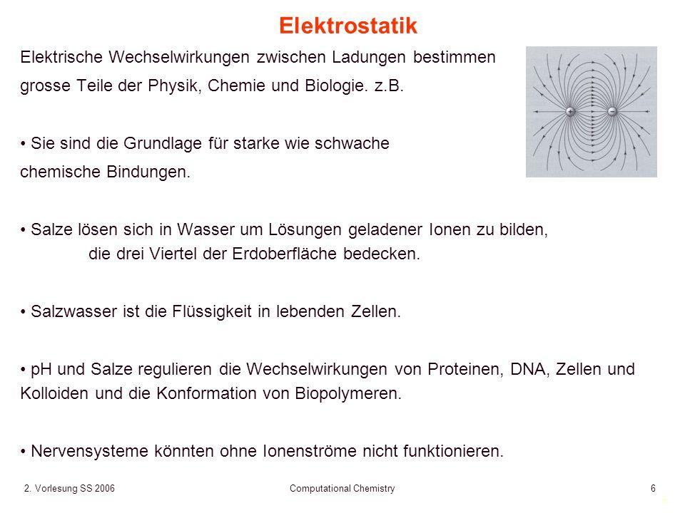 6 2. Vorlesung SS 2006 Computational Chemistry6 Elektrostatik Elektrische Wechselwirkungen zwischen Ladungen bestimmen grosse Teile der Physik, Chemie