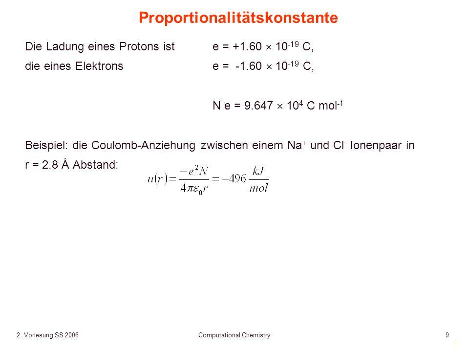 9 2. Vorlesung SS 2006 Computational Chemistry9 Proportionalitätskonstante Die Ladung eines Protons ist e = +1.60 10 -19 C, die eines Elektronse = -1.