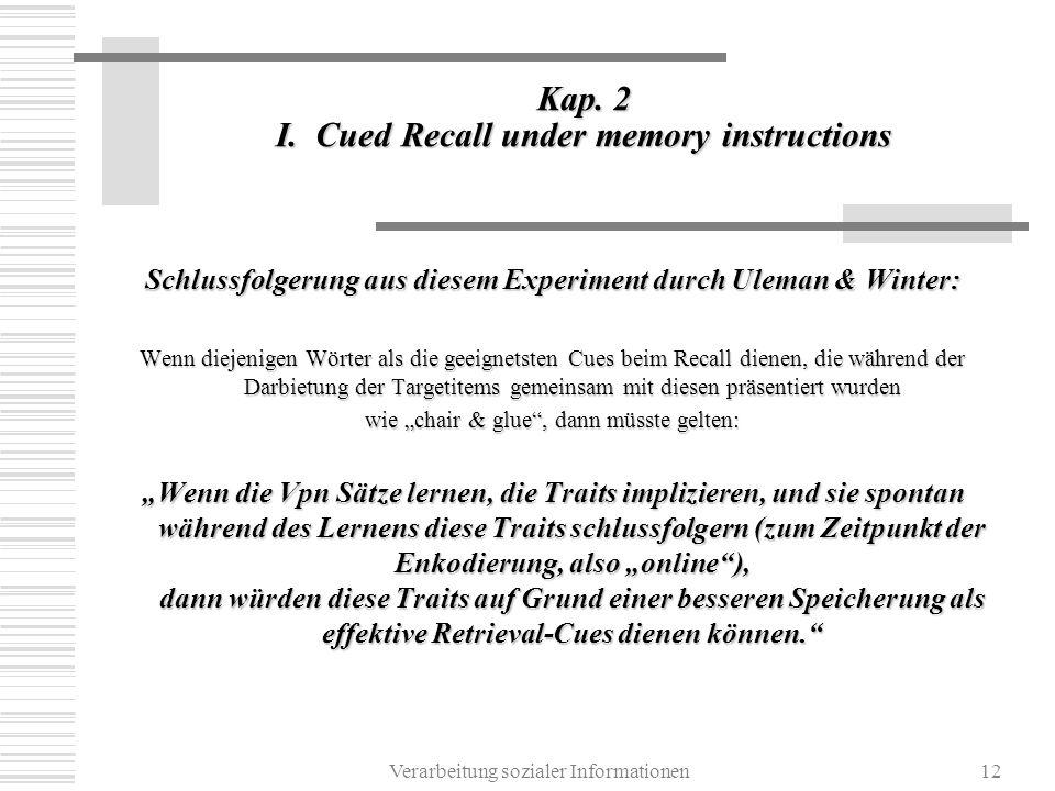 Verarbeitung sozialer Informationen12 Kap. 2 I. Cued Recall under memory instructions Schlussfolgerung aus diesem Experiment durch Uleman & Winter: We