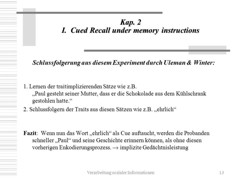 Verarbeitung sozialer Informationen13 Kap. 2 I. Cued Recall under memory instructions Schlussfolgerung aus diesem Experiment durch Uleman & Winter: 1.