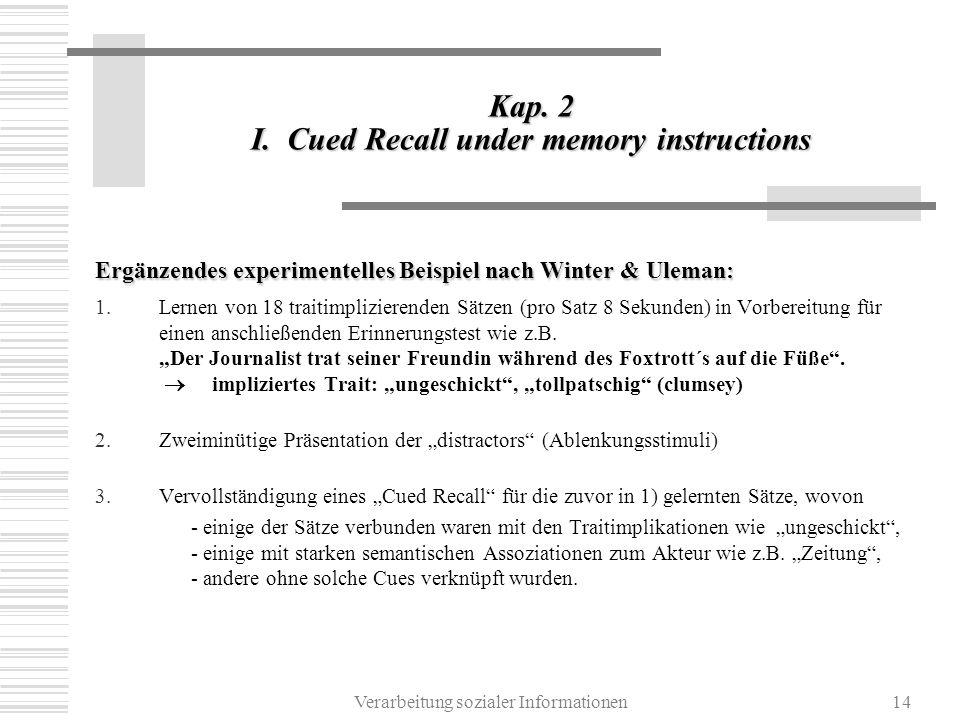Verarbeitung sozialer Informationen14 Kap. 2 I. Cued Recall under memory instructions Ergänzendes experimentelles Beispiel nach Winter & Uleman: 1.Ler