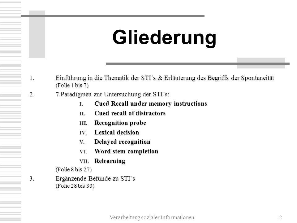 Verarbeitung sozialer Informationen2 Gliederung 1.Einführung in die Thematik der STI´s & Erläuterung des Begriffs der Spontaneität (Folie 1 bis 7) 2.7 Paradigmen zur Untersuchung der STI´s: I.