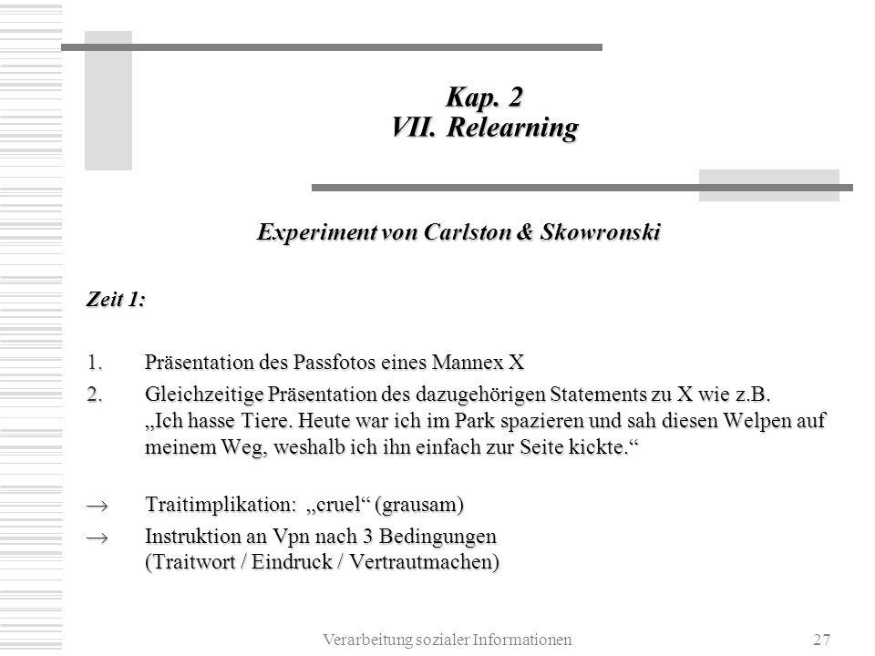 Verarbeitung sozialer Informationen27 Kap. 2 VII. Relearning Experiment von Carlston & Skowronski Zeit 1: 1.Präsentation des Passfotos eines Mannex X
