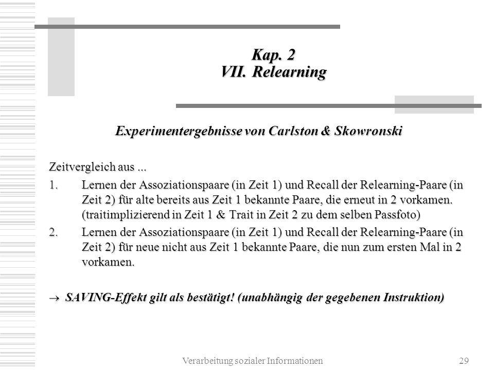 Verarbeitung sozialer Informationen29 Kap. 2 VII. Relearning Experimentergebnisse von Carlston & Skowronski Zeitvergleich aus... 1.Lernen der Assoziat