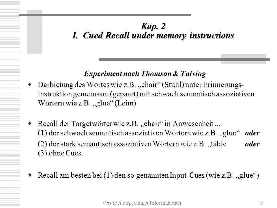 Verarbeitung sozialer Informationen9 Kap. 2 I. Cued Recall under memory instructions Experiment nach Thomson & Tulving Darbietung des Wortes wie z.B.