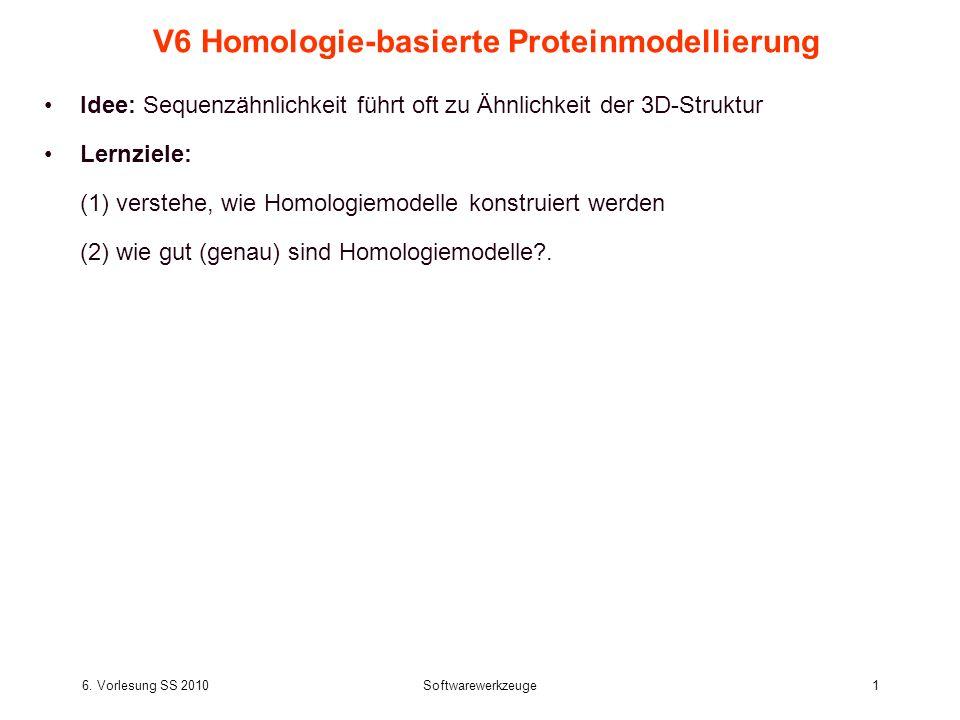 6. Vorlesung SS 2010Softwarewerkzeuge1 V6 Homologie-basierte Proteinmodellierung Idee: Sequenzähnlichkeit führt oft zu Ähnlichkeit der 3D-Struktur Ler