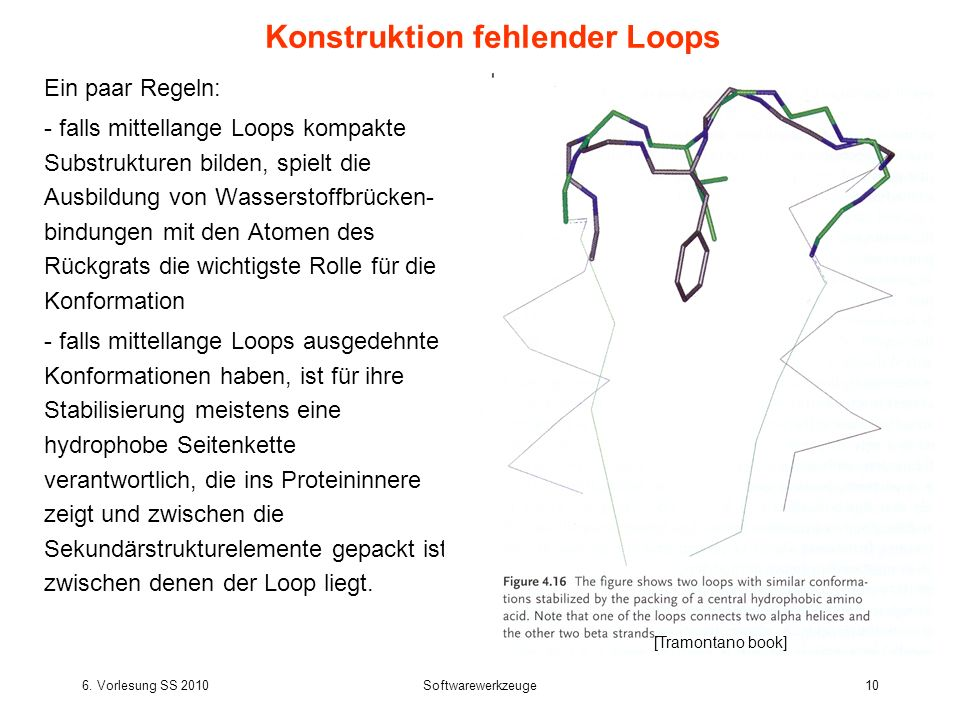6. Vorlesung SS 2010Softwarewerkzeuge10 Ein paar Regeln: - falls mittellange Loops kompakte Substrukturen bilden, spielt die Ausbildung von Wasserstof