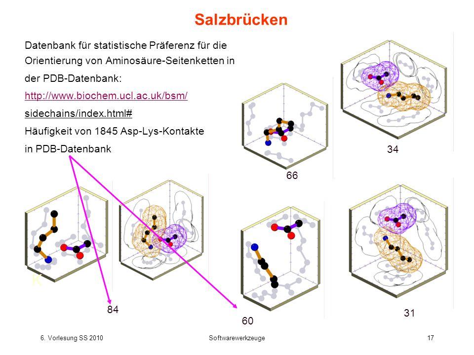 6. Vorlesung SS 2010Softwarewerkzeuge17 Salzbrücken Datenbank für statistische Präferenz für die Orientierung von Aminosäure-Seitenketten in der PDB-D