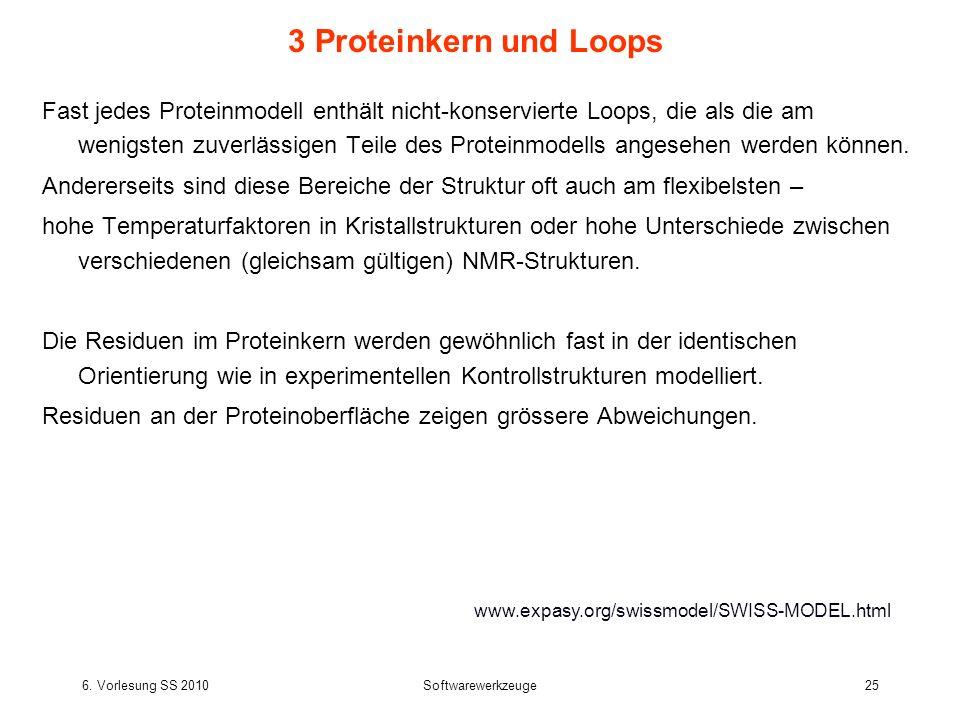 6. Vorlesung SS 2010Softwarewerkzeuge25 3 Proteinkern und Loops Fast jedes Proteinmodell enthält nicht-konservierte Loops, die als die am wenigsten zu