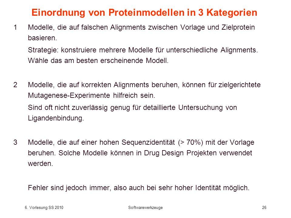6. Vorlesung SS 2010Softwarewerkzeuge26 Einordnung von Proteinmodellen in 3 Kategorien 1Modelle, die auf falschen Alignments zwischen Vorlage und Ziel