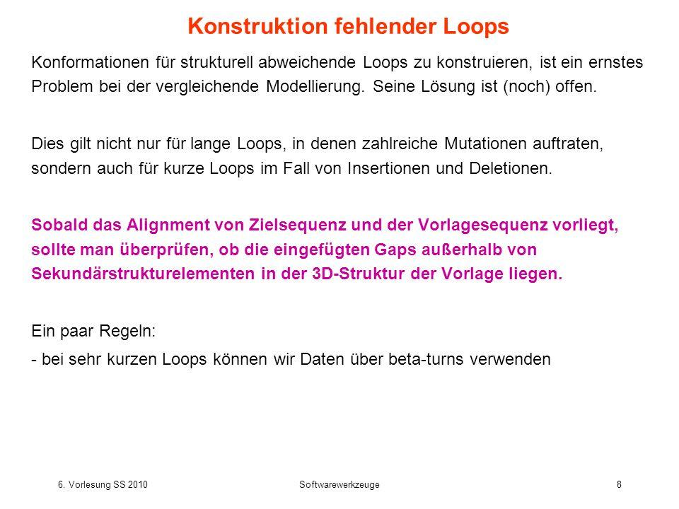 6. Vorlesung SS 2010Softwarewerkzeuge8 Konformationen für strukturell abweichende Loops zu konstruieren, ist ein ernstes Problem bei der vergleichende