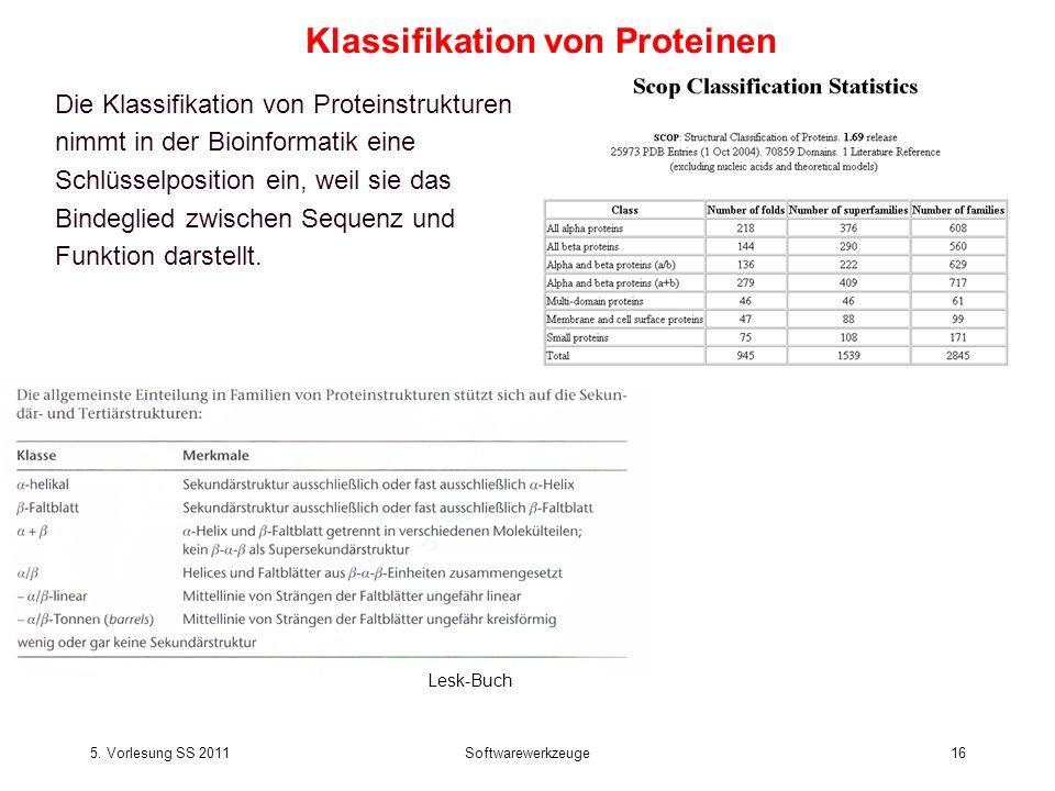 5. Vorlesung SS 2011Softwarewerkzeuge16 Die Klassifikation von Proteinstrukturen nimmt in der Bioinformatik eine Schlüsselposition ein, weil sie das B