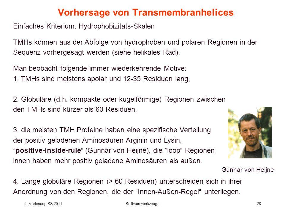 5. Vorlesung SS 2011Softwarewerkzeuge28 Vorhersage von Transmembranhelices Einfaches Kriterium: Hydrophobizitäts-Skalen TMHs können aus der Abfolge vo