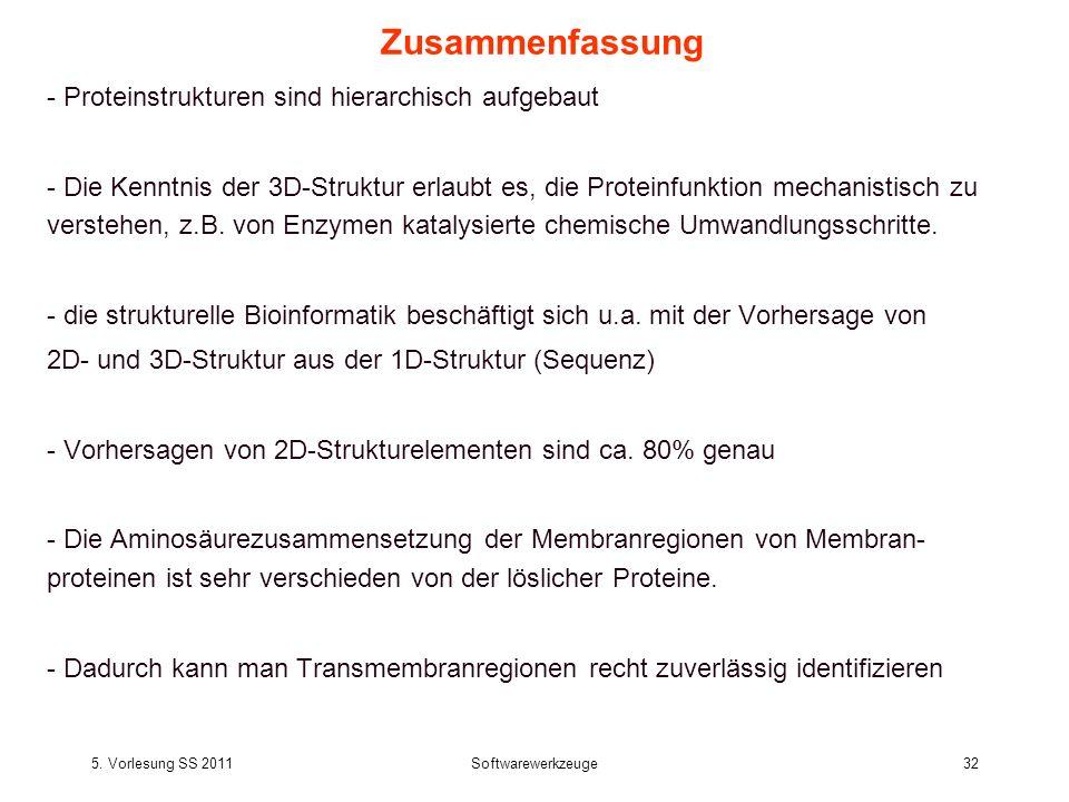 5. Vorlesung SS 2011Softwarewerkzeuge32 Zusammenfassung - Proteinstrukturen sind hierarchisch aufgebaut - Die Kenntnis der 3D-Struktur erlaubt es, die