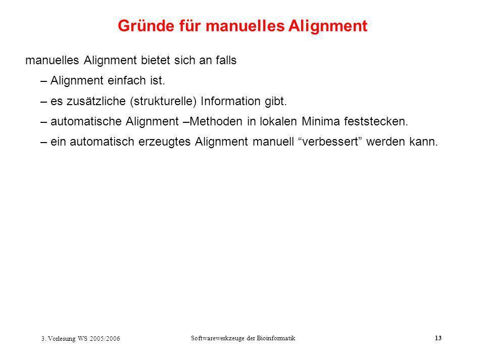 3. Vorlesung WS 2005/2006 Softwarewerkzeuge der Bioinformatik13 manuelles Alignment bietet sich an falls – Alignment einfach ist. – es zusätzliche (st