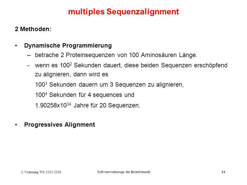 3. Vorlesung WS 2005/2006 Softwarewerkzeuge der Bioinformatik14 2 Methoden: Dynamische Programmierung –betrache 2 Proteinsequenzen von 100 Aminosäuren