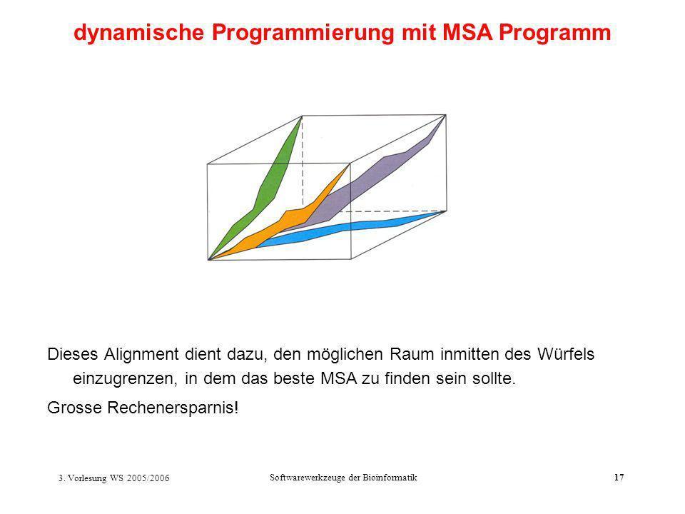 3. Vorlesung WS 2005/2006 Softwarewerkzeuge der Bioinformatik17 Dieses Alignment dient dazu, den möglichen Raum inmitten des Würfels einzugrenzen, in