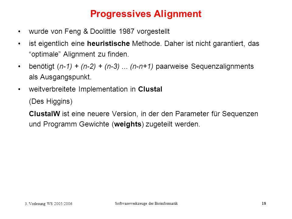 3. Vorlesung WS 2005/2006 Softwarewerkzeuge der Bioinformatik18 wurde von Feng & Doolittle 1987 vorgestellt ist eigentlich eine heuristische Methode.