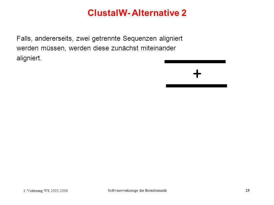 3. Vorlesung WS 2005/2006 Softwarewerkzeuge der Bioinformatik25 Falls, andererseits, zwei getrennte Sequenzen aligniert werden müssen, werden diese zu