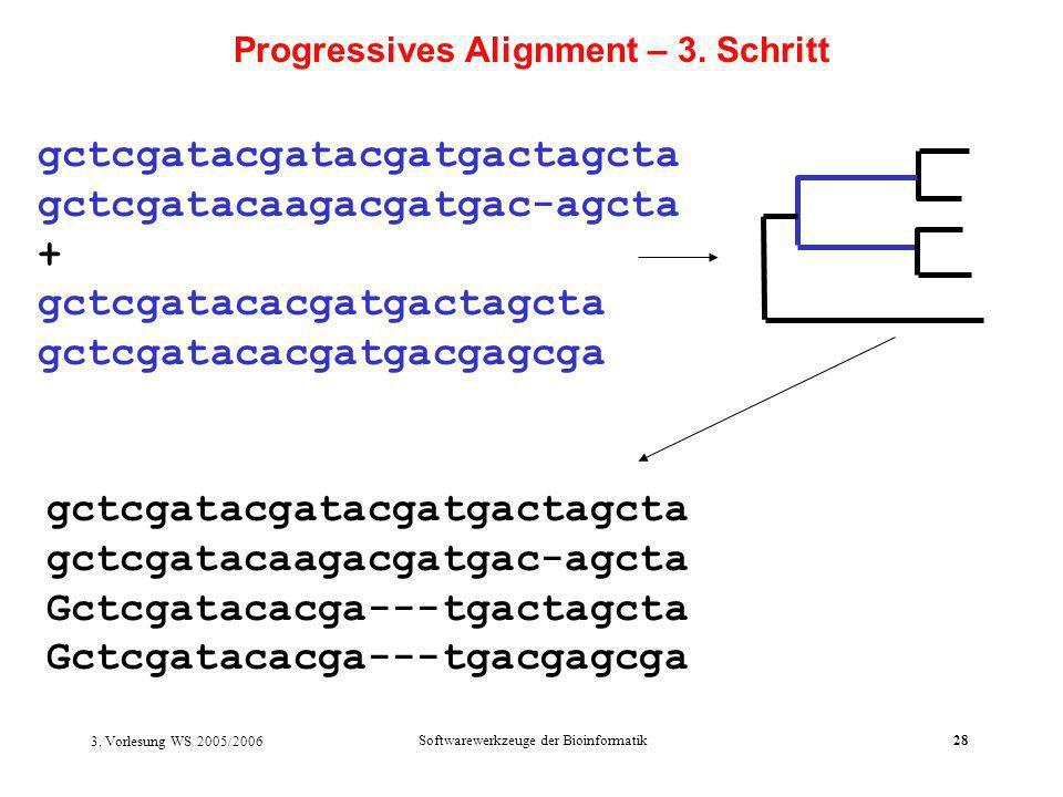 3. Vorlesung WS 2005/2006 Softwarewerkzeuge der Bioinformatik28 gctcgatacgatacgatgactagcta gctcgatacaagacgatgac-agcta + gctcgatacacgatgactagcta gctcga