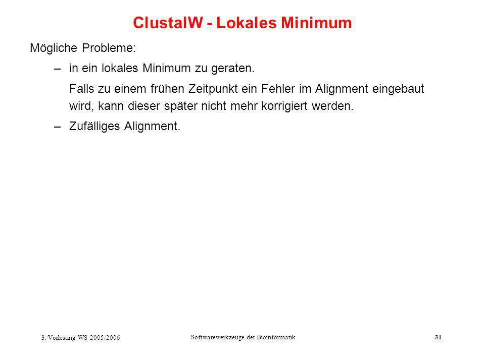 3. Vorlesung WS 2005/2006 Softwarewerkzeuge der Bioinformatik31 Mögliche Probleme: –in ein lokales Minimum zu geraten. Falls zu einem frühen Zeitpunkt