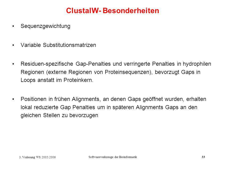 3. Vorlesung WS 2005/2006 Softwarewerkzeuge der Bioinformatik33 Sequenzgewichtung Variable Substitutionsmatrizen Residuen-spezifische Gap-Penalties un