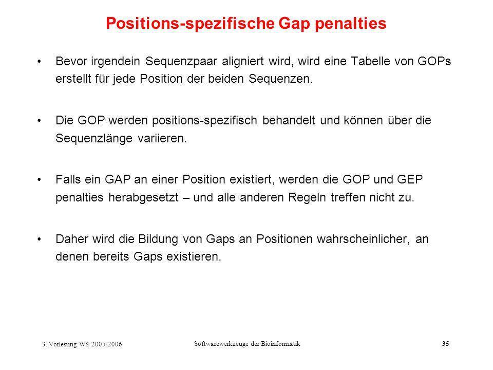 3. Vorlesung WS 2005/2006 Softwarewerkzeuge der Bioinformatik35 Bevor irgendein Sequenzpaar aligniert wird, wird eine Tabelle von GOPs erstellt für je