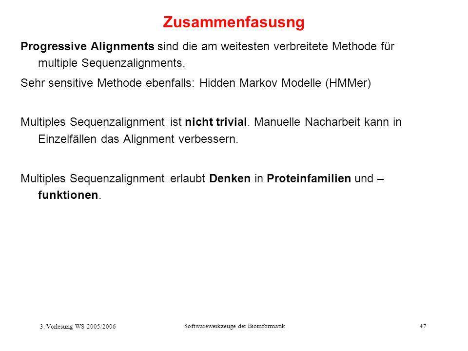 3. Vorlesung WS 2005/2006 Softwarewerkzeuge der Bioinformatik47 Progressive Alignments sind die am weitesten verbreitete Methode für multiple Sequenza