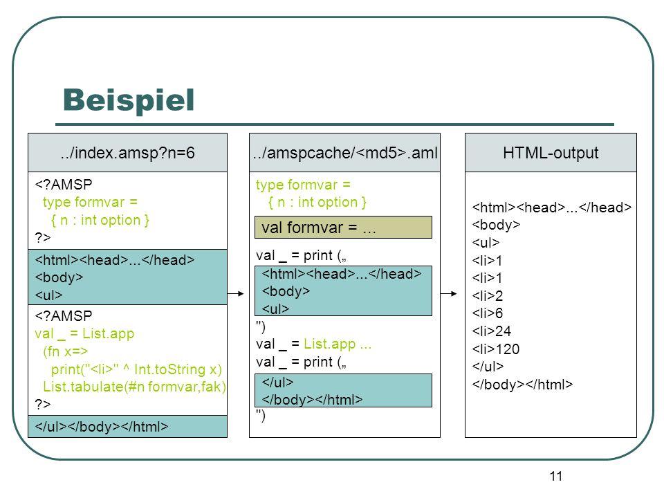 10 Beispiel <?AMSP type formvar = { n : int option } ?>../index.amsp?n=6... <?AMSP val _ = List.app (fn x=> print(