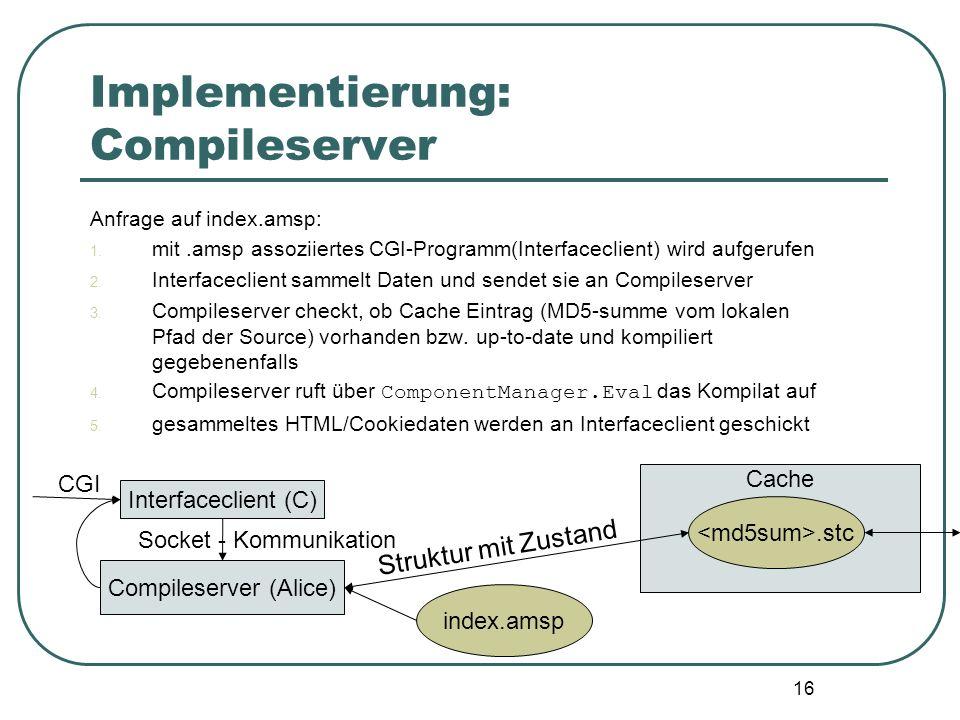 15 Implementierung: Compileserver Anfrage auf index.amsp: 1. mit.amsp assoziiertes CGI-Programm(Interfaceclient) wird aufgerufen 2. Interfaceclient sa