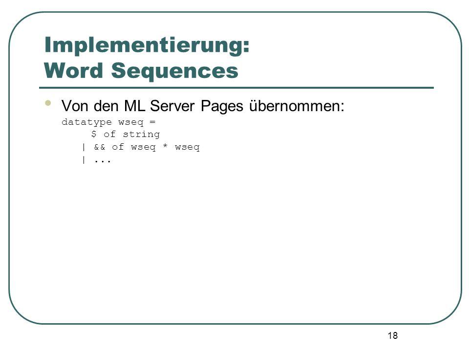 17 Implementierung: Compileserver Anfrage auf index.amsp: 1. mit.amsp assoziiertes CGI-Programm(Interfaceclient) wird aufgerufen 2. Interfaceclient sa