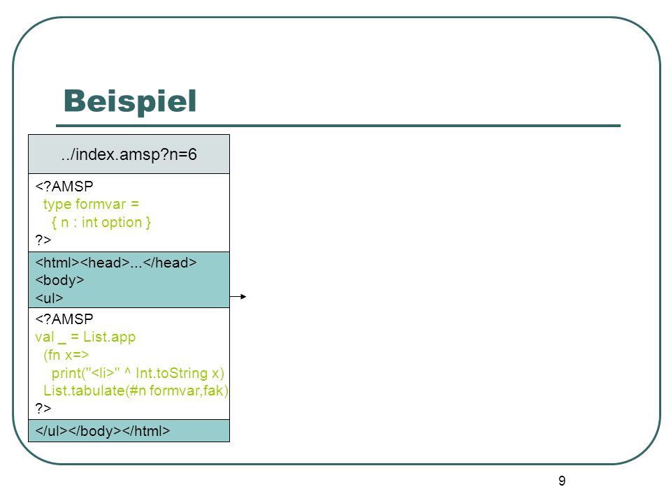 19 Implementierung: Word Sequences Von den ML Server Pages übernommen: datatype wseq = $ of string | && of wseq * wseq |...