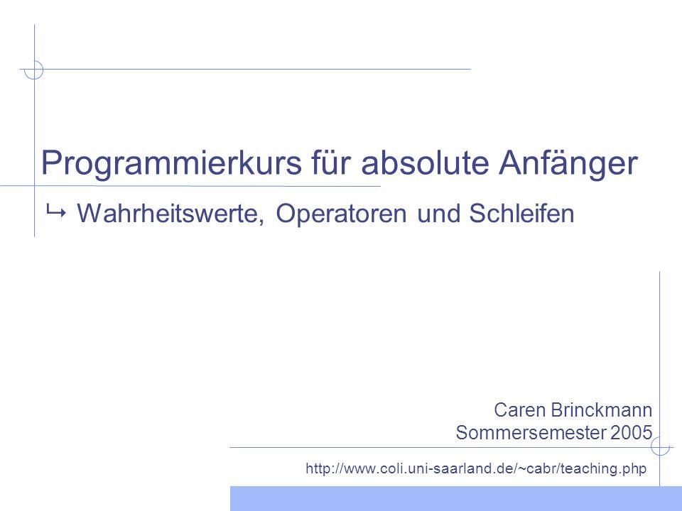 Programmierkurs für absolute Anfänger http://www.coli.uni-saarland.de/~cabr/teaching.php Wahrheitswerte, Operatoren und Schleifen Caren Brinckmann Sommersemester 2005