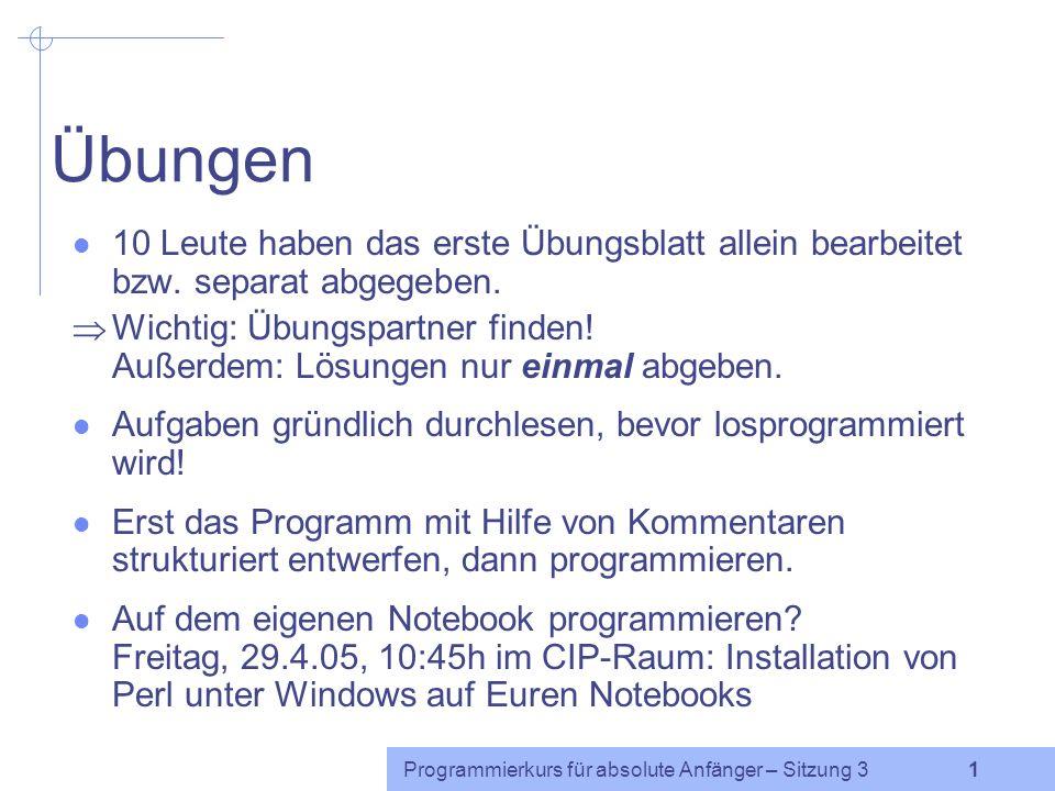 Programmierkurs für absolute Anfänger – Sitzung 3 31 Programme mit Daten füttern Normalfall: Standardeingabe STDIN wird von der Tastatur bezogen.