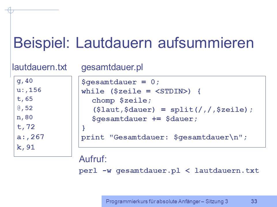 Programmierkurs für absolute Anfänger – Sitzung 3 32 Funktion split Die Funktion split teilt eine Zeichenkette in mehrere Zeichenketten auf. Syntax: s