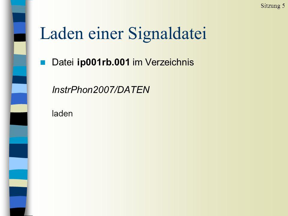 Laden einer Signaldatei n Datei ip001rb.001 im Verzeichnis InstrPhon2007/DATEN laden Sitzung 5