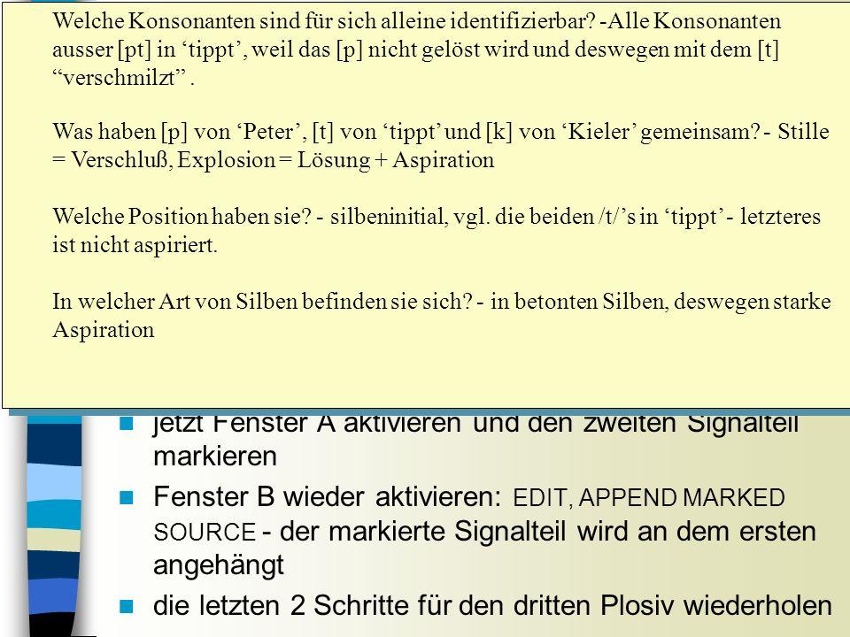 Hörtest n die im Fenster B kopierten Plosive in randomisierter Reihenfolge abspielen Sitzung 5 Welche Konsonanten sind für sich alleine identifizierbar.