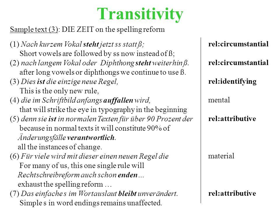 Transitivity Sample text (3): DIE ZEIT on the spelling reform (1) Nach kurzem Vokal steht jetzt ss statt ß; Short vowels are followed by ss now instead of ß; (2) nach langem Vokal oder Diphthong steht weiterhin ß.