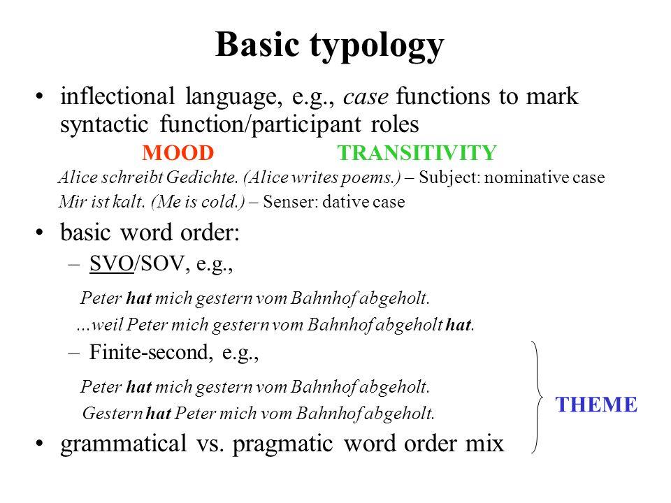 semantics context lexico- grammar axis delicacy rank stratification metafunction Typological outlook + instantiation (register) (cf.