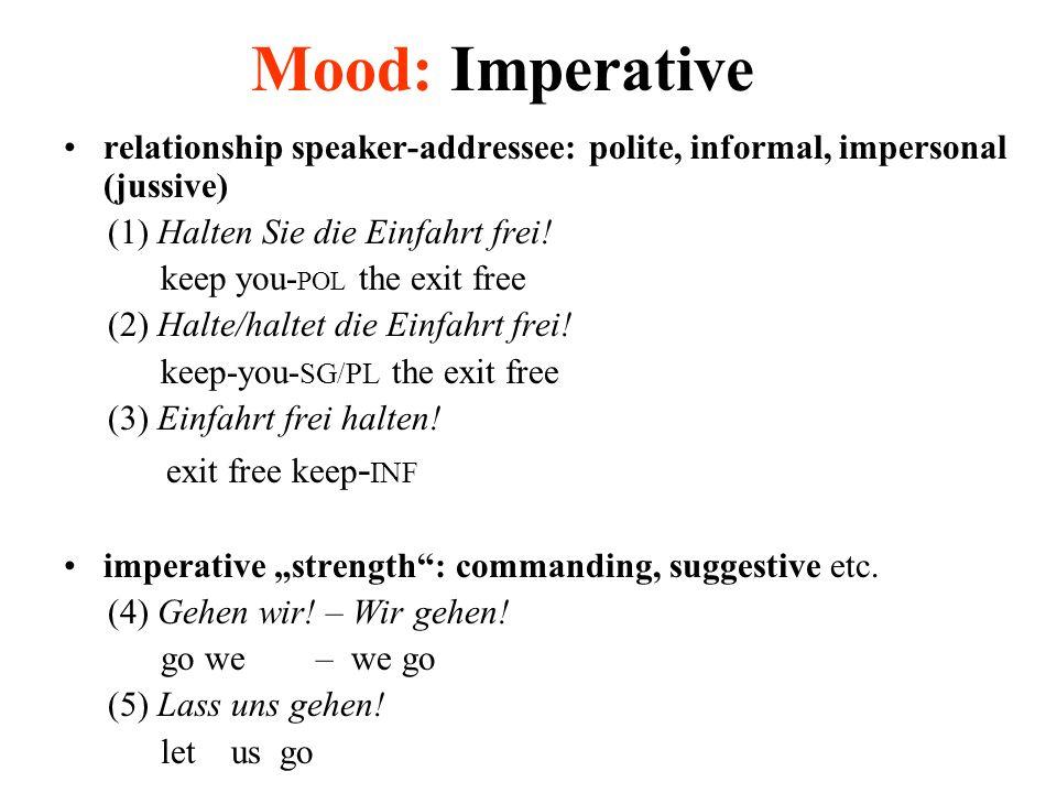 Mood: Imperative relationship speaker-addressee: polite, informal, impersonal (jussive) (1) Halten Sie die Einfahrt frei.