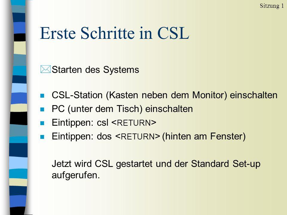 Erste Schritte in CSL * Starten des Systems n CSL-Station (Kasten neben dem Monitor) einschalten n PC (unter dem Tisch) einschalten n Eintippen: csl n Eintippen: dos (hinten am Fenster) Jetzt wird CSL gestartet und der Standard Set-up aufgerufen.