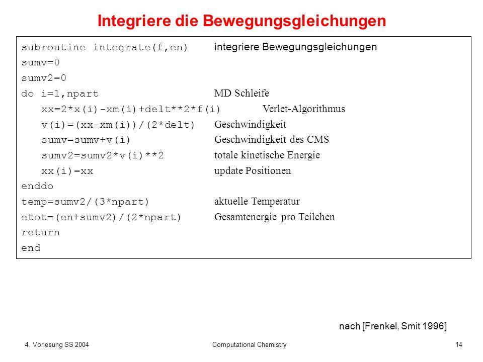 144. Vorlesung SS 2004 Computational Chemistry subroutine integrate(f,en) integriere Bewegungsgleichungen sumv=0 sumv2=0 do i=1,npart MD Schleife xx=2