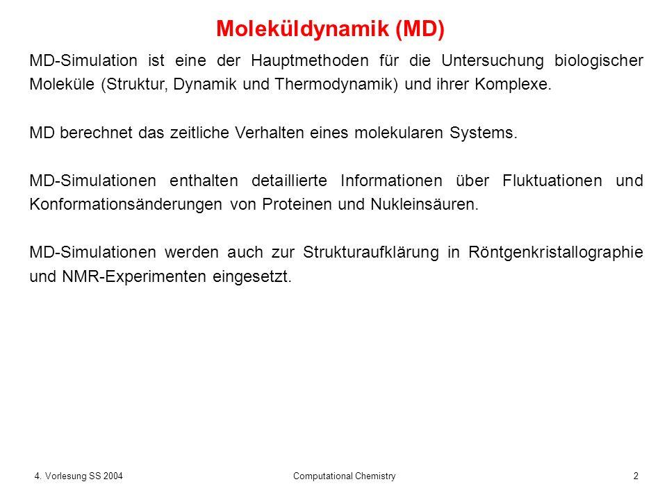 24. Vorlesung SS 2004 Computational Chemistry Moleküldynamik (MD) MD-Simulation ist eine der Hauptmethoden für die Untersuchung biologischer Moleküle