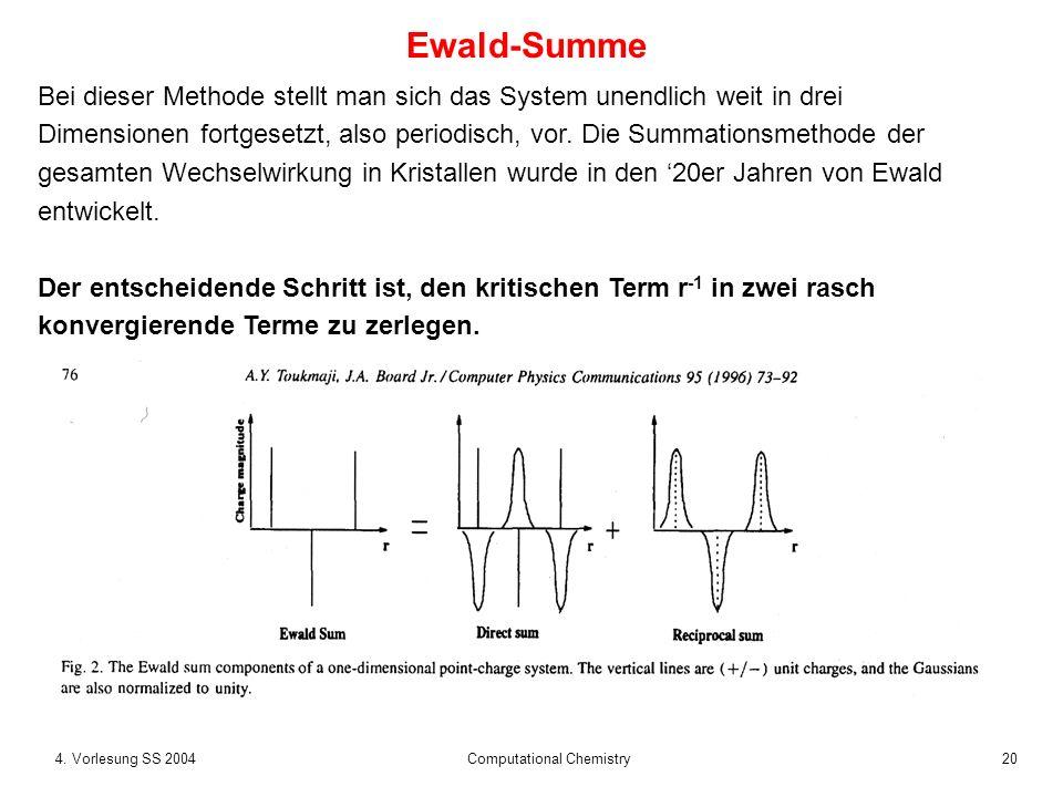 204. Vorlesung SS 2004 Computational Chemistry Bei dieser Methode stellt man sich das System unendlich weit in drei Dimensionen fortgesetzt, also peri
