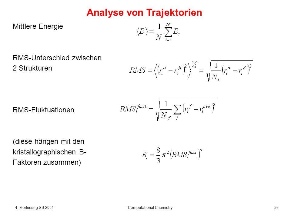 364. Vorlesung SS 2004 Computational Chemistry Mittlere Energie RMS-Unterschied zwischen 2 Strukturen RMS-Fluktuationen (diese hängen mit den kristall