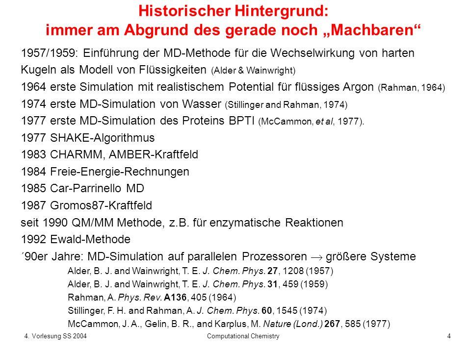 44. Vorlesung SS 2004 Computational Chemistry Historischer Hintergrund: immer am Abgrund des gerade noch Machbaren 1957/1959: Einführung der MD-Method