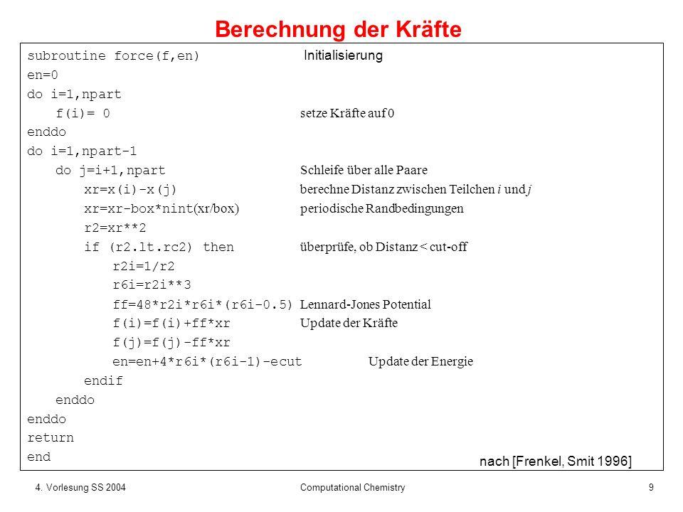 104.Vorlesung SS 2004 Computational Chemistry Es gibt N*(N-1) Paar-Wechselwirkungen.