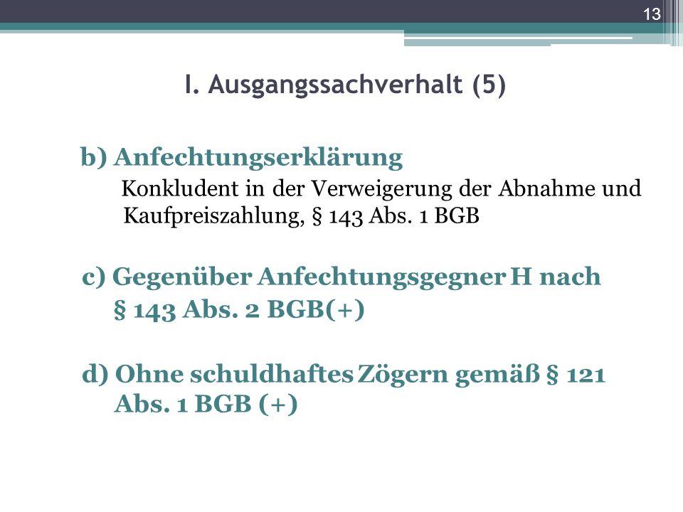 13 I. Ausgangssachverhalt (5) b) Anfechtungserklärung Konkludent in der Verweigerung der Abnahme und Kaufpreiszahlung, § 143 Abs. 1 BGB c) Gegenüber A