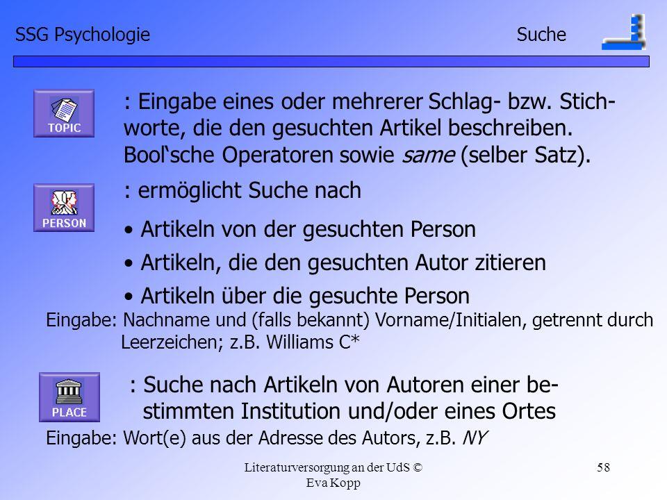 Literaturversorgung an der UdS © Eva Kopp 58 : Eingabe eines oder mehrerer Schlag- bzw. Stich- worte, die den gesuchten Artikel beschreiben. Boolsche